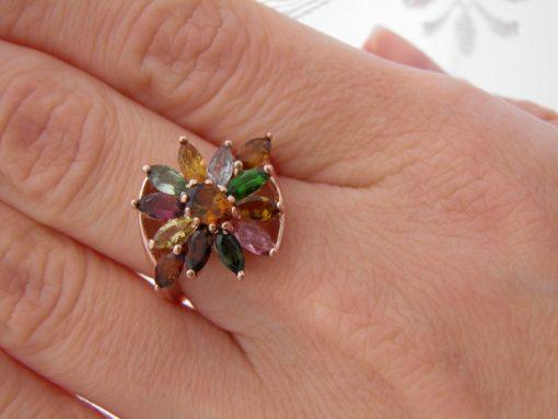 кольцо с турмалином в серебре
