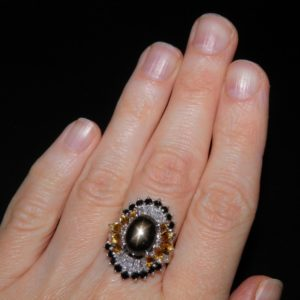 Кольцо из серебра с чёрным звёздчатым сапфиром