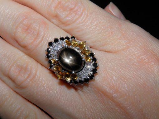 Серебряное кольцо Чёрный Звёздчатый Сапфир & Цитрин