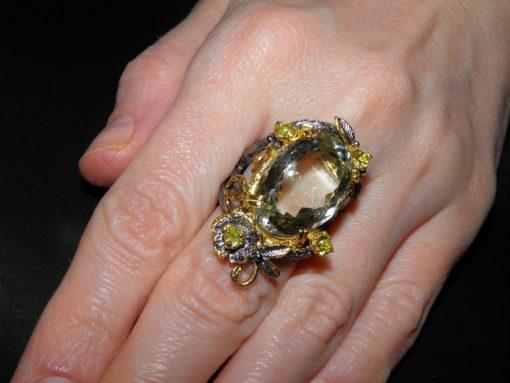 Дизайнерское серебряное кольцо с празиолитом