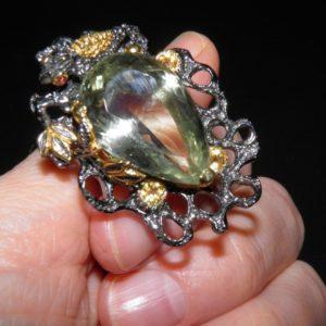 Коктейльный перстень из серебра с празиолитом