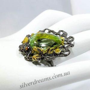 Серебряный перстень с натуральным празиолитом