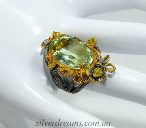 Дизайнерский перстень с крупным празиолитом