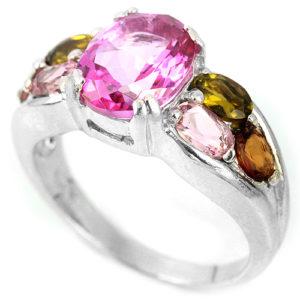 Кольцо с розовым топазом и турмалинами в серебре