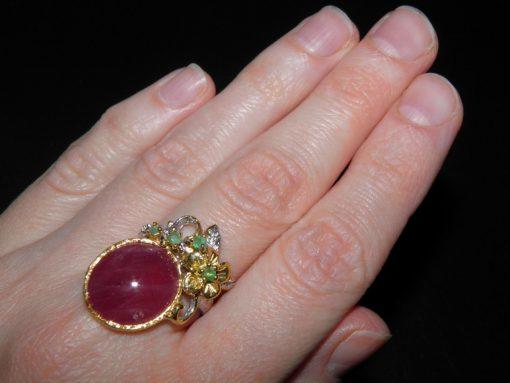 Дизайнерское кольцо с гладким рубином