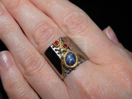 кольцо из серебра со звёздчатым сапфиром