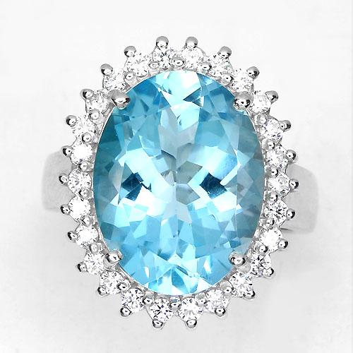 Серебряное кольцо с огромным голубым топазом