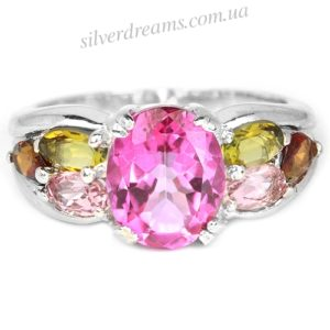 Серебряное кольцо Розовый Топаз-Турмалин