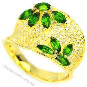 диопсидовое кольцо из серебра в позолоте
