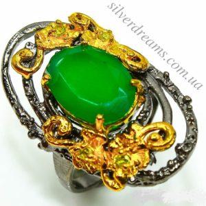 Дизайнерское кольцо с ониксом в серебре