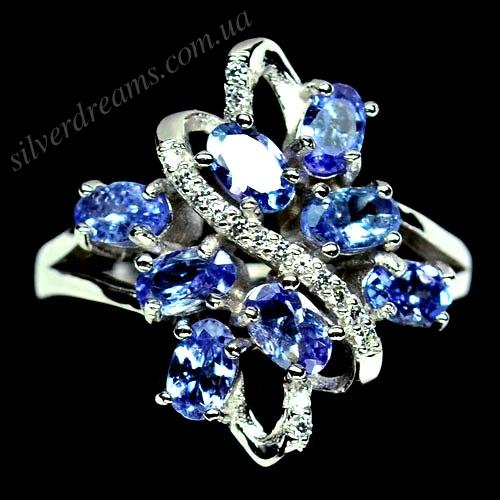 кольцо с танзанитами в серебре