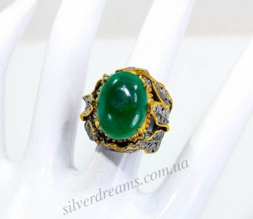 Купить перстень с зелёным агатом