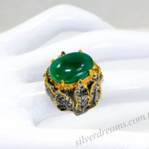 Кольцо с зелёным агатом купить в Украине