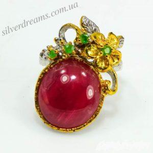 Дизайнерское кольцо из серебра с рубином
