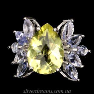 Кольцо с лимонным кварцем и танзанитами
