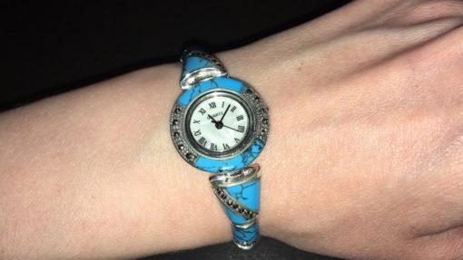 Часы-браслет из серебра с бирюзой и марказитами
