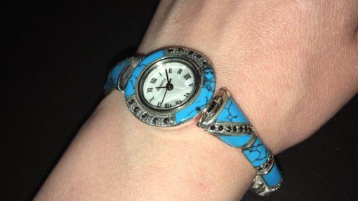 Браслет-часы с бирюзой и марказитами