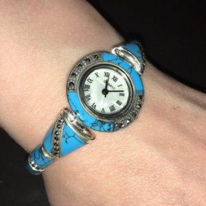 Серебряные часы-браслет с аризонской бирюзой