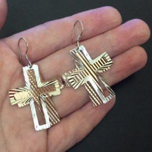 Серебряные серьги-крестики
