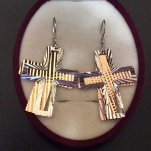 Серьги-подвески Крестики из серебра