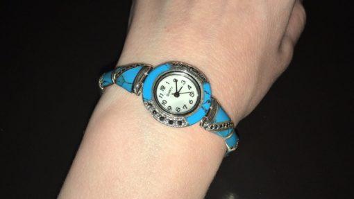 Часы-браслет из капельного серебра с бирюзой