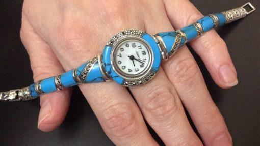 Серебряный браслет-часы с аризонской бирюзой