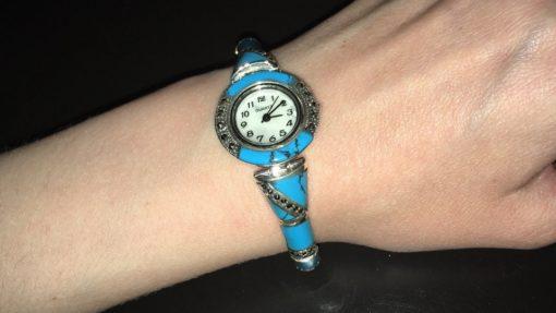 Серебряные часы-браслет с бирюзой и марказитами