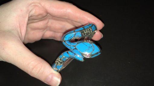 Браслет Змея из серебра с бирюзой рубинами и марказитами