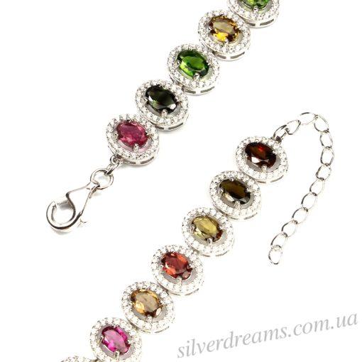 Турмалиновый браслет в серебре