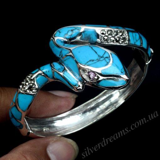Жёсткий браслет с бирюзой в серебре