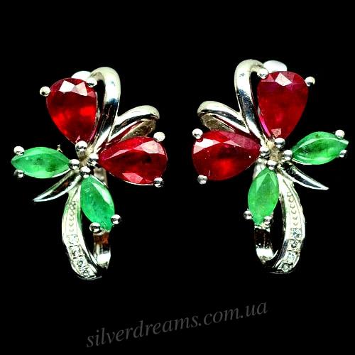 Серьги Бабочки с рубином и изумрудом
