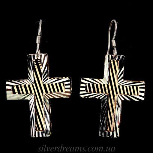 Серьги-крестики из серебра с позолотой