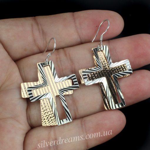 Серебряные серьги Крестики