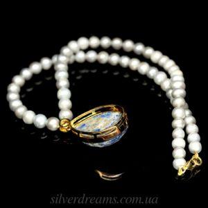 Серебряное ожерелье Жемчуг-Лазурит