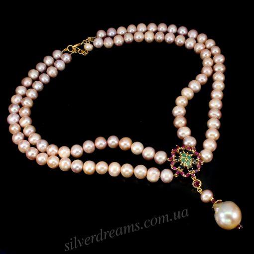 Ожерелье из розового жемчуга с драгкамнями
