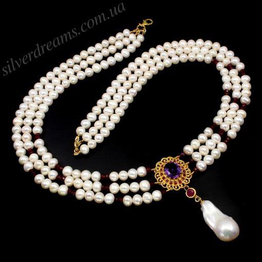 Жемчужное ожерелье в серебре с позолотой