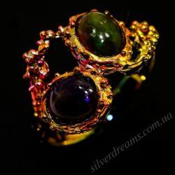 Дизайнерское кольцо с австралийскими опалами