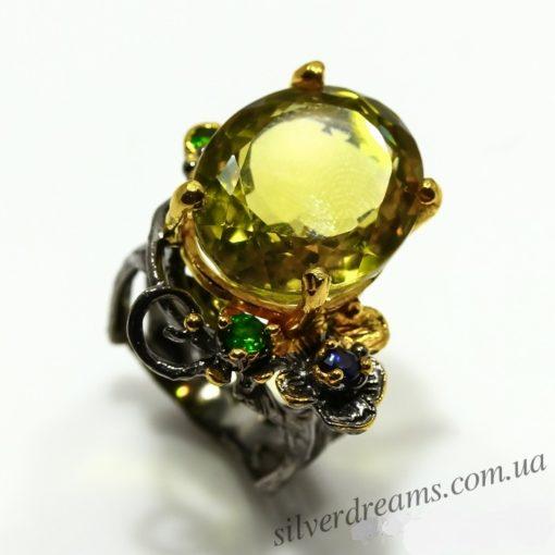 Дизайнерское кольцо с лимонным кварцем