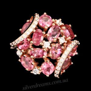 Серебряное кольцо с рубеллитом