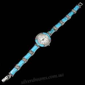 Серебряный браслет-часы с бирюзой и марказитами