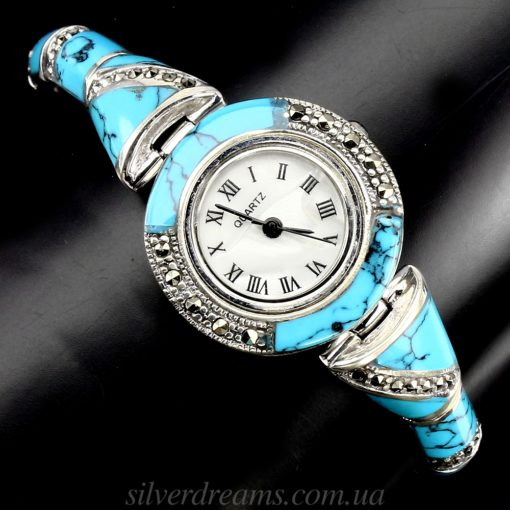 Серебряный браслет-часы с бирюзой