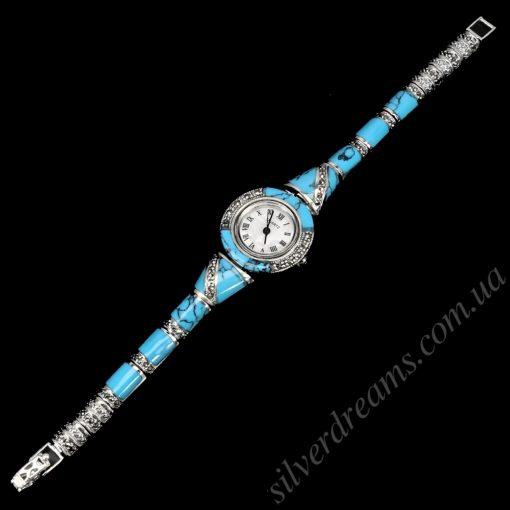 Серебряные часы с бирюзой и марказитами