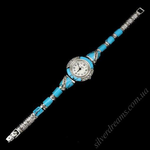 Часы-браслет с бирюзой в серебре