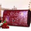 красный кожаный кошелёк купить в украине