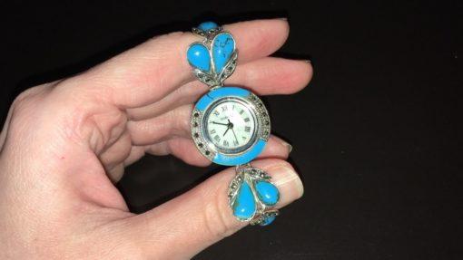 Часы-браслет с бирюзой и марказитами