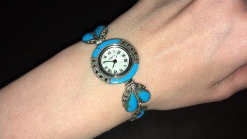 Серебряные часы с аризонской бирюзой