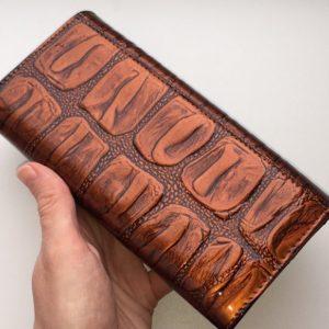 коньячный кожаный кошелёк