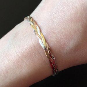 Серебряный браслет Косичка в трёхцветной позолоте
