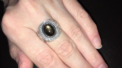 Серебряный перстень с чёрным звёздчатым сапфиром