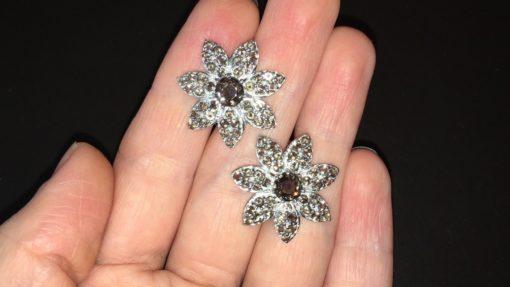 Серьги-цветы с раухтопазами